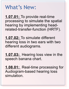 What��s New:  1.07.01: To provide real-time processing to simulate the spatial hearing by implementing head-related-transfer-function (HRTF).   1.07.02: To simulate different hearing loss in two ears with two different audiograms.   1.07.03:  Hearing loss view in the speech banana chart.  1.08.01:  Real-time processing for Audiogram-based hearing loss simulation.