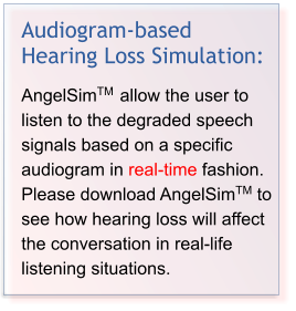 Audiogram-based Hearing Loss Simulation:  AngelSimTM  allow the user to listen to the degraded speech signals based on a specific audiogram in real-time fashion. Please download AngelSimTM to see how hearing loss will affect the conversation in real-life listening situations.
